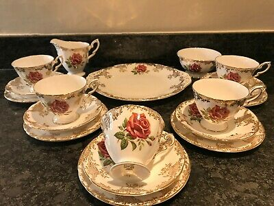 Paragon Bone China 18 Piece Tea Set - Red Roses Gold Lace Pattern • 85£