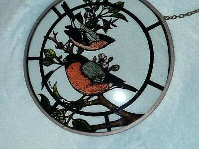 Vintage Painted Glass Roundel - Chaffinches  • 15£