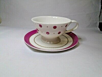 Laura Ashley White And Pink Polka Dot Pattern Teacup And Saucer (A16-C)  • 14.99£