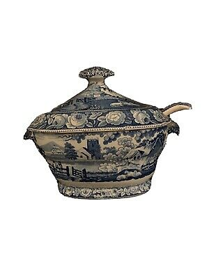 Large ANTIQUE TRANSFERWARE Blue & White Tureen With Spoon And Lid • 25£