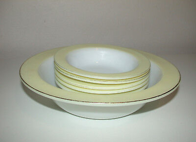 Pyrex Serving Bowl & 5 Fruit Bowls / Dishes    White With Yellow Edge • 9.99£