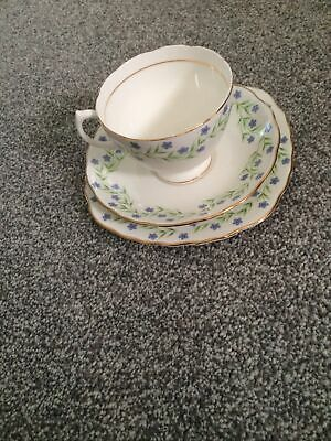 Royal Vale Forget Me Not Bone China Trio In Hood Condition • 9£