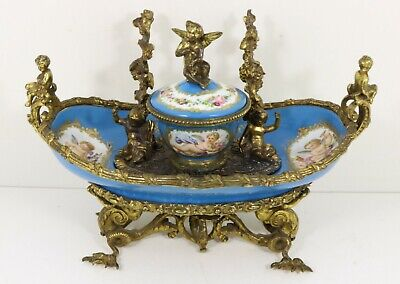 Fine Antique French Porcelain Inkwell Sevres Style • 699£