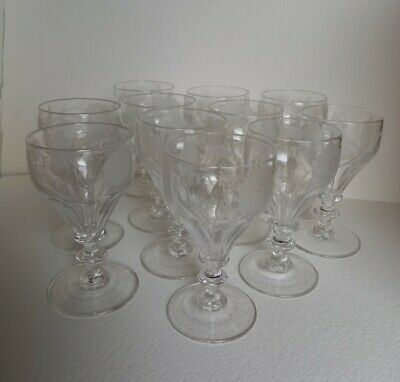 Eleven Early 19th Century Jacobite Fiat Wine Glasses • 825£