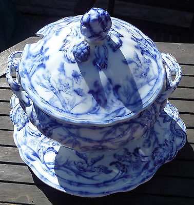 RARE ANTIQUE FLOW BLUE WHITE BAMBOO PATTERN SOUP TUREEN LID & STAND C1890 601 • 179£