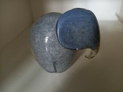 Wedgwood Type Grey Glass Elephant Ornament/Paperweight Trunk Down. • 13£