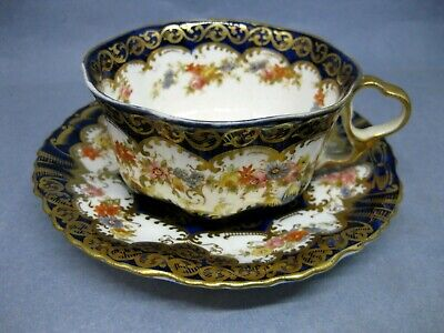 Antique Crown Staffordshire Cobalt Blue And Gilt Cabinet CUP And SAUCER • 20£