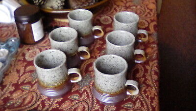 6 XVintage Purbeck Pottery Portland Stoneware Speckled Grey & Brown Ridged  Mugs • 28£