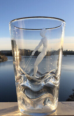 Signed VICKE LINDSTRAND ORREFORS Etched Riding Water Skis Nude Woman Glass Vase • 310.87£