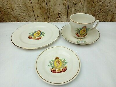 Queen Elizabeth II - Coronation Trio Of Cup, Saucer And Side Plate + PIN DISH  • 7£