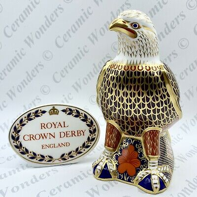 Royal Crown Derby Bald Eagle Paperweight - 1st Quality Gold Stopper • 139£