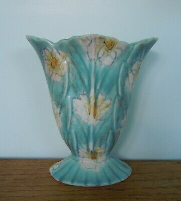 Antique Art Deco Beswick Pottery Vase Blue, Footed Leaf/floral  H: 7  Gd Con  • 15£