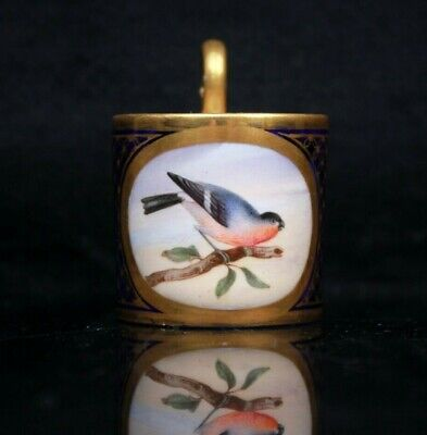 Antique Possibly Sevres Miniature Coffee Can Painted Bird Cartouche Circa 1850 • 225£