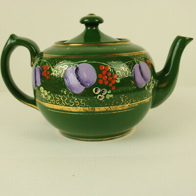 Vintage Wade Heath Teapot Green With Hand Painted Fruit Decor #6157 • 12.50£