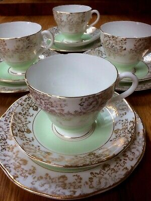 Vintage Balfour Bone China Cups Saucers Plates 4 Trios Harlequin Green & Gold • 30£