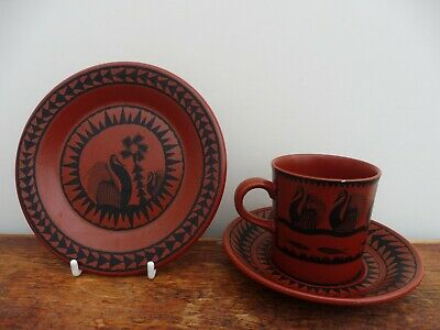 Royal Worcester Scottie Wilson Coffee Cup & Saucer With Tea Plate • 14£