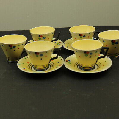 Hancock's IVORY WARE 6 Coffee Cups &  4 Saucers 1930's ART DECO Hand Painted • 15£