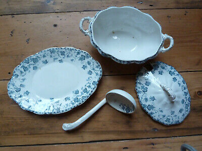 Antique 'Loraine' Sauce Tureen, Lid ,Saucer And Ladle, John Maddock & Sons  • 20£
