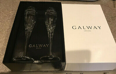 Pair Of Galway Irish Crystal Congratulations Glass Drinking Flutes (champagne) • 19£