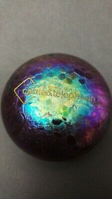 Iridescent IOW Cable & Telephone Glass Paperweight • 10.95£