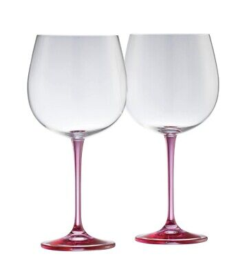 Galway Living Pair Of Crystal Gin Glasses - Pink Stem • 24£