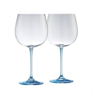 Galway Living Clarity Pair Of Crystal Gin Glasses - Blue Stem • 24£