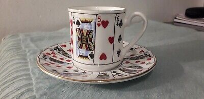 Queens Bone China Playing Cards Cut For Coffee Cup & Saucer • 8£