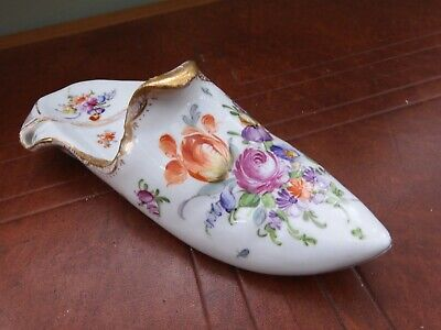 Meissen , Late 19th Century Porcelain, Hand Painted ,floral ''Slipper'' Posy Hol • 25£