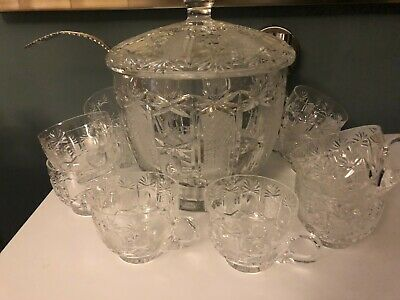 Lovely Vintage Cut Crystal Punch Bowl With Lid & 10 Cups & Ladle • 39.99£