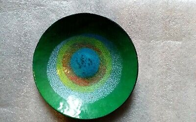 Handmade Ceramic Bowl With Multicolours Inside And Cobalt Outter • 8.99£
