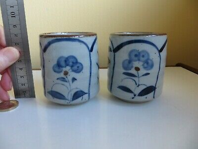2 Vintage Retro Oriental Grey & Blue Flower Studio Art Signed Pots Japan? China? • 10£
