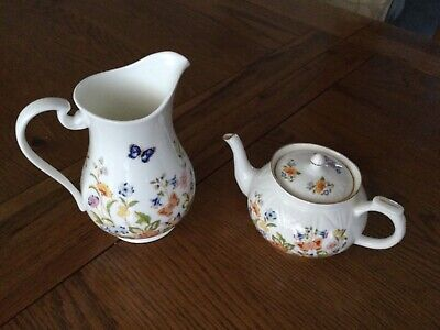 Aynsley Pottery. Cottage Garden Design. Small Teapot And Jug • 20£