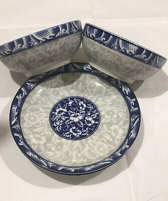 Blue And White Flower Plates And Bowls • 14.99£