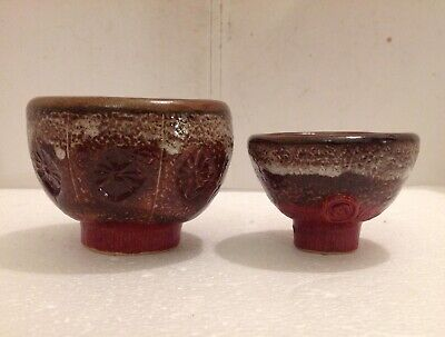 Two Superb Decorative Studio Pottery Bowls Each With Potter's Mark • 12£