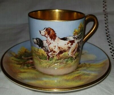 Rare! Crown Devon Coffee Can Tea Cup & Saucer Signed Hinton Hunting Dogs Setters • 60£
