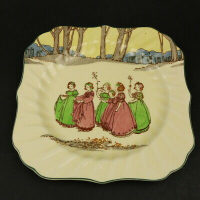 Royal Doulton D3119 SPRINGTIME Seriesware Square Plate  - 20cm - Girls In Woods • 8£
