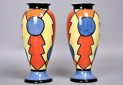 Pair Of Limited Edition Lorna Bailey Bright Abstract Vases, Old Ellgreave  • 120£
