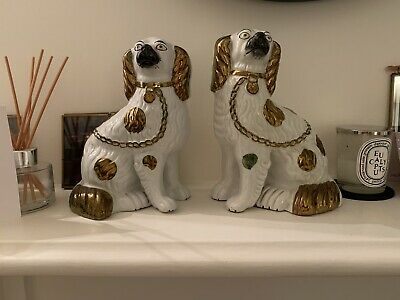 Staffordshire Ceramic King Charles Spaniels Dogs Pair Copper • 29£