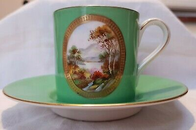 Noritake Coffee Can Cup & Saucer Handpainted Landscape Scene Gilded Green Ground • 24£