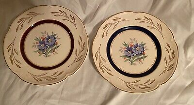 Two Vintage JOHNSON BROS 9inch Plates With Floral Gilded Pareek Pattern • 20£