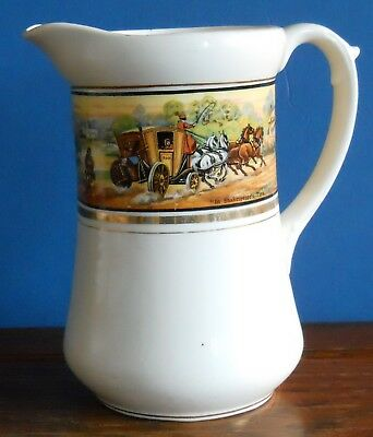 "Large Antique Pottery Water Jug ""In Shakespeare's Time"" Print Country Coaching • 6.99£"