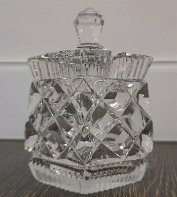 Vintage Cut Glass Preserve Pot With Lid • 15£