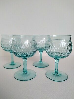 Whitefriars Set Of Four James Powell & Sons Roman Cut Sapphire Wine Glasses • 175£