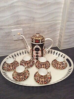 Royal Crown Derby  Coffee Pot And Six Coffee Cans And Saucers  • 220£
