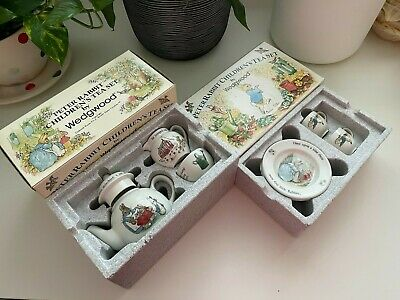 Vintage Boxed Wedgwood Peter Rabbit Child's Tea Set Beatrix Potter - 9 Pieces • 60£