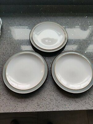 DENBY JET Grey 3 X SIDE TEA PLATES  BLACK GREY In Lightly Used Condition • 6.99£