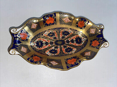 Royal Cown Derby Imari 1128 Gold  Fluted Trinket Dish Unboxed • 20£