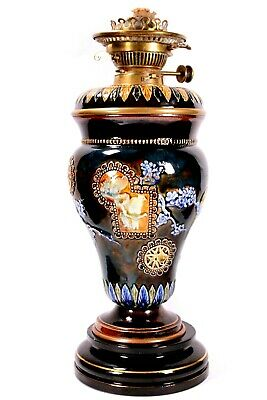Royal Doulton Oil Lamp Florence Barlow Paraffin Light Circa 1900 • 275£
