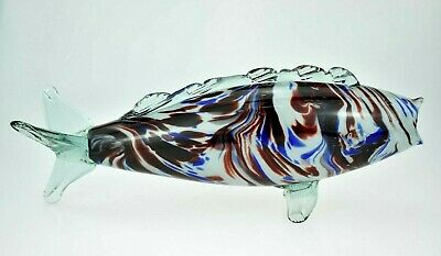 Vintage Retro 1970's Murano Glass Fish Vase Sculpture 13.5  Red White Blue EXC • 24.99£