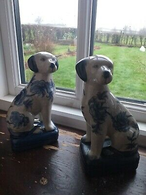Vintage Ironstone China Pot Dogs Blue And White X 2 • 24£